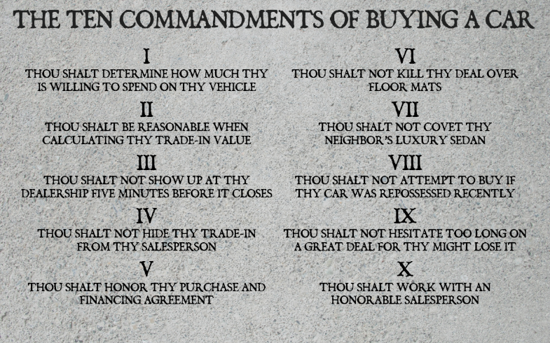THE 10 COMMANDMENTS OF BUYING A CAR