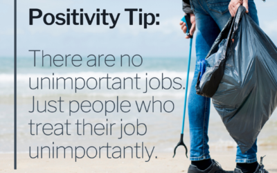 POSITIVITY TIP:  There are no unimportant jobs.  Just people who treat their job unimportantly.
